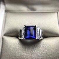 Topaz tự nhiên Đá Rắn Bạc 925 Nhẫn Nam Quảng Trường Tự Nhiên Blue Stone Nhẫn Nam Trang Sức Top Chất Lượng Cắt Cuff Nhẫn quà tặng