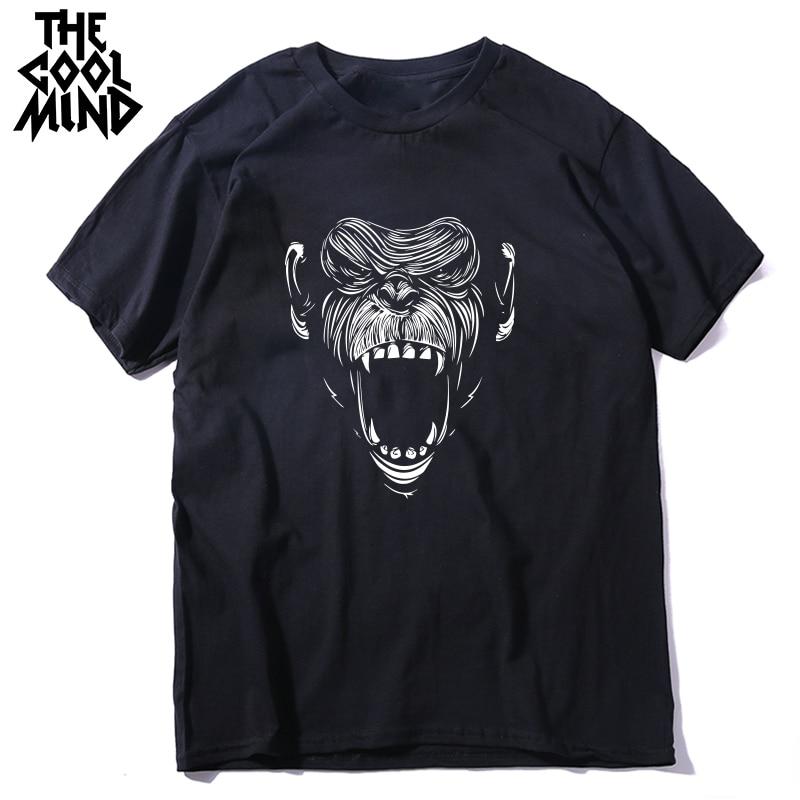 COOLMIND 100% Cotton Summer Cool Monkey Men Tshirt Casual Summer Loose Men T Shirt Male O-neck T-shirt Tee Shirts