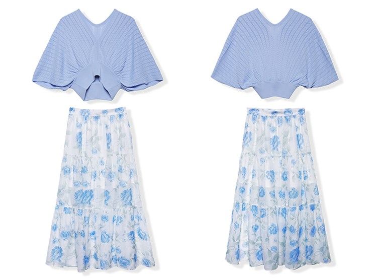 See Orange Fashion Casual Two Piece Set Blue Women Two Piece Outfits Summer Deep V Neck Blouse Chiffon Long Skirt Set SO1111
