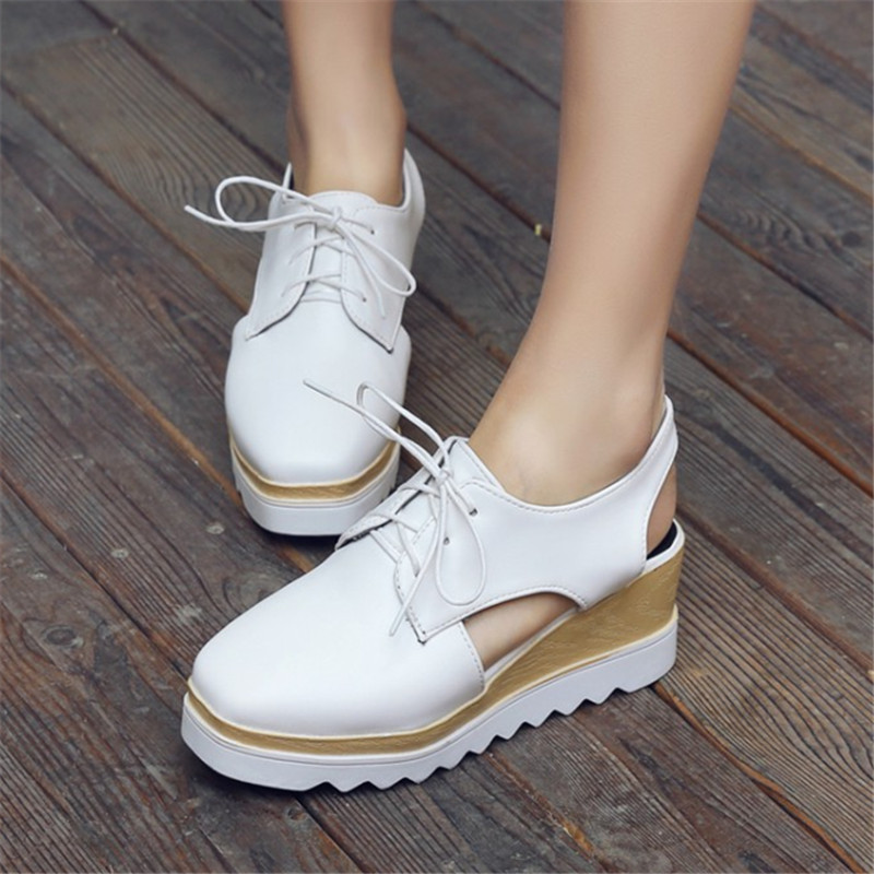 Plus Size 33-43 Summer women Platform Sandals Patent Leather Casual Square Toe High heeled wedges Woman Shoes Lace Up zapatos summer shoes woman platform sandals women soft leather casual open toe gladiator wedges women nurse shoes zapatos mujer size 8