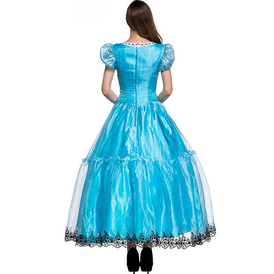 New Ladies Fairy Tale Alice in Wonderland Fancy Dress Up Party Costume Long Gown
