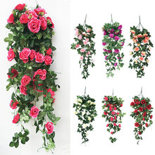 Dropshipping Simulation Fake Flower Rose Vine Wall Orchid Hanging Basket Flower Living Room Balcony Home Decoration Flower(China)