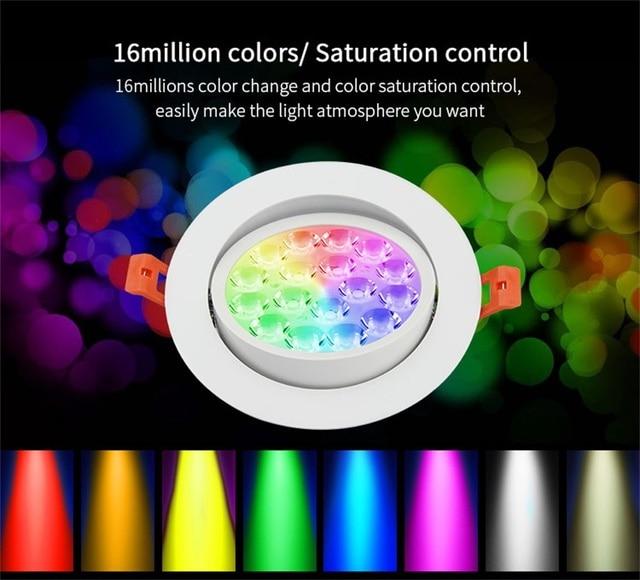MiLight FUT062 2.4G 9W RGB+CCT Ceiling light FUT089/B8/Wifi BOX 2 Smart home grouping RF remote