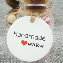 1.18*1.18inch 1000pcs white round handmade with love paper clothing tags wedding favor sticker name custom tags