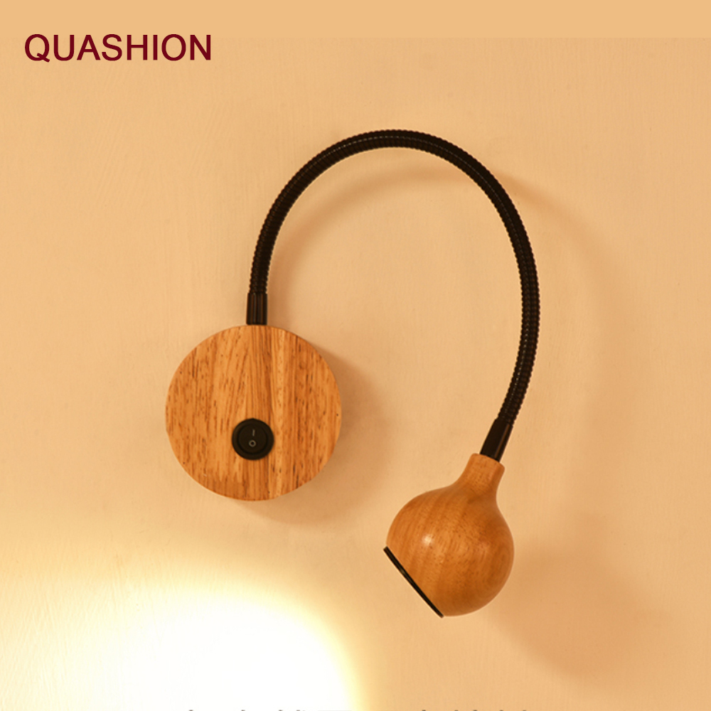 Modern Wood LED Wall Lamps With Knob Switch 3W AC90-260V  Bedroom Bedside Reading Light Direction Adjustable Indoor Lighting