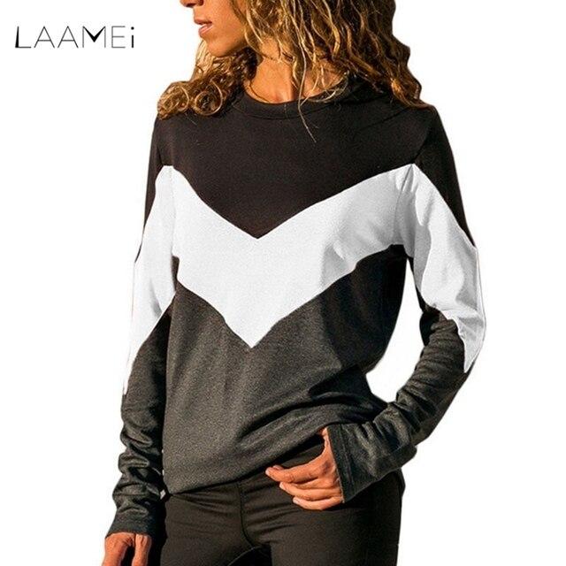 LAAMEI 2018 חדש סתיו החורף ארוך שרוול סוודר נשים טלאי O-צוואר רופף Pollovers חולצות נשים סריגה Femme בתוספת גודל