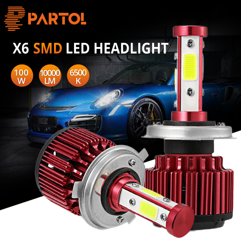 Partol H4 H7 H11 9005 9006 Car Led Headlight Bulbs Auto LED Headlamp COB Chips Hi-Lo Beam 100W 10000LM Pure White 6500K 12V 24V