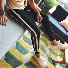 2017hot sale spring and summer new men's casual trends side stripes trousers comfortable breathable Haren pants black sweatpants