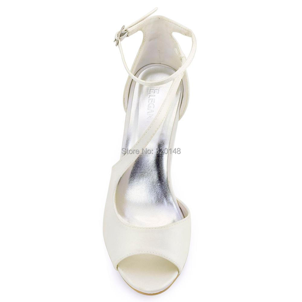 Women Sandals Ivory Wedding Bridal Shoes Ankle Strap High Heel Bride Bridesmaid Sexy Evening Party Pumps Hot Pink  Blue HP1565