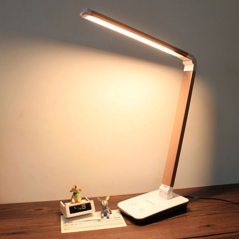 4 Level Touch Dimmer LED Desk Lamps Folding Table LED Lamba Portable Office Night Reading lampara lampe de table lamp 12W T2 folding study led table lamp 4 level sensitive touch dimmer desk lamps portable office eye care reading 12w rechargeable new