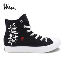 цены Wen Anime Design Hand Painted Black Sneakers Wings Scout Regiment Survey Corps Attack on Titan Man Woman Canvas High Top Shoes