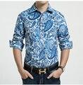 Primavera E no Outono Casuais Mens Camisas Lazer Turn Down Collar Impressão Mangas Compridas Flor Masculina Shirts Tops Roupas M/3Xl J1781