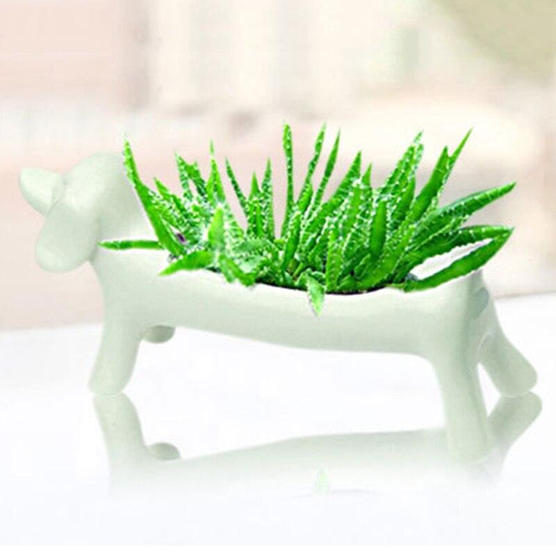 Белый цвет керамические фигуры животных цветочный горшок мини-собака горшок плантаторов суккулентных цветок зеленый растений горшки домашний стол украшения