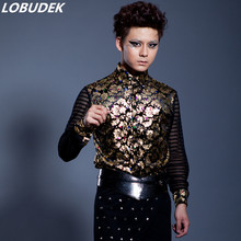 man gold shirt male shirts for wedding formal party prom print flower fashion singer dancer groom bar show nightclub costumes