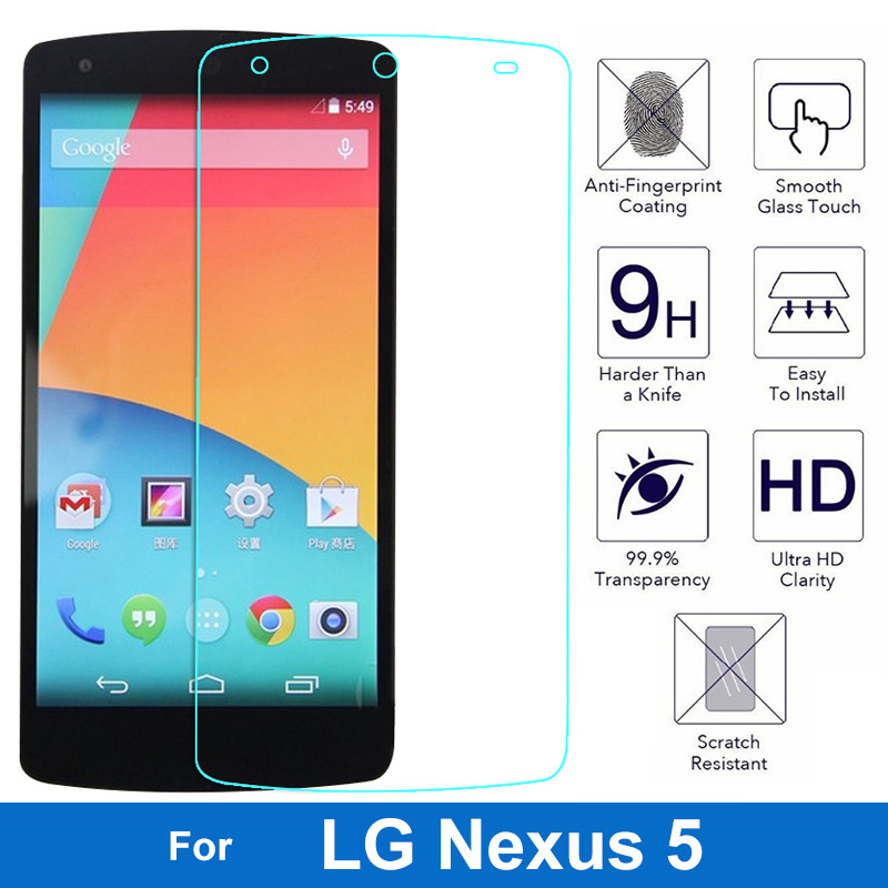 0.3mm Tempered Glass For LG Google Nexus 5 Arc Edge Case For LG Nexus5 D820 D821 EM01L Screen Protector Protective Film