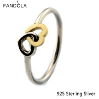 Rings Compatible With European Style Jewelry 100 925 Sterling Silver Heart To Heart 14K Gold Original