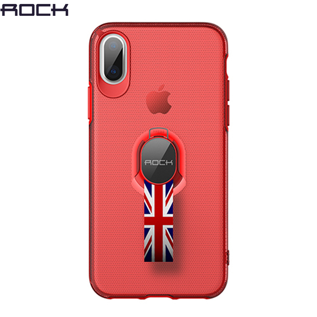 more photos 57a96 9643d US $10.51 |For iPhone X Protection Case With Holder Stand Strap, ROCK  Transparent Finger Ring Grip Case For iPhoneX Slim Back Cover Ribbon -in  Fitted ...