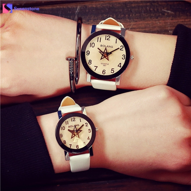 Fashion New Star Pattern Simple Style Lovers Watch Men Women PU Leather Strap An