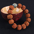 High Quality Ethnic Style Buddha Bracelet Pure Manual Weaving Nepal Six Petal Rudraksha Beads Bracelet Men Jewelry