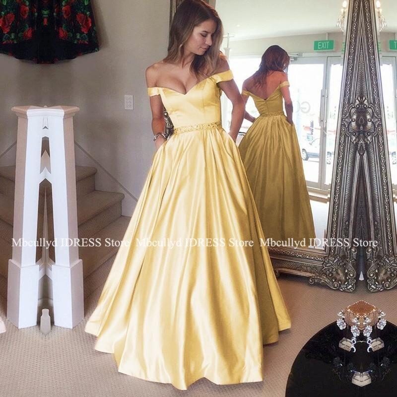 Chic Yellow   Prom     Dress   With Pockets V-neck 2019 A-line Satin Vestidos de fiesta de noche Off Shoulder Women Formal Party   Dress