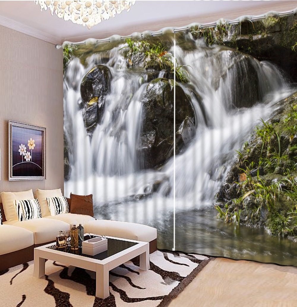 ₩Hermosa sala de cortinas moda personalizada paisaje natural Rock