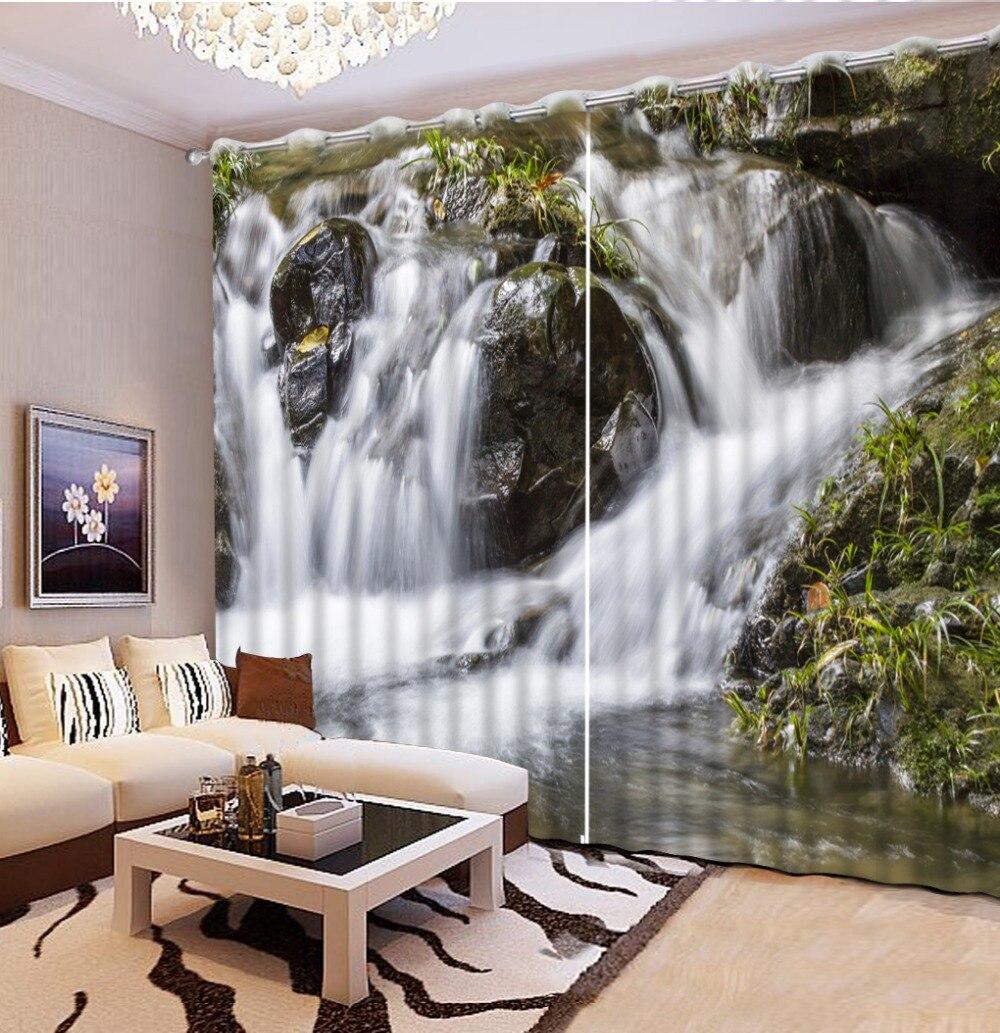 US $70.0 65% OFF|Schöne wohnzimmer vorhänge Mode Angepasst Natürliche  landschaft fels creek vorhang stile für schlafzimmer-in Vorhänge aus Heim  und ...