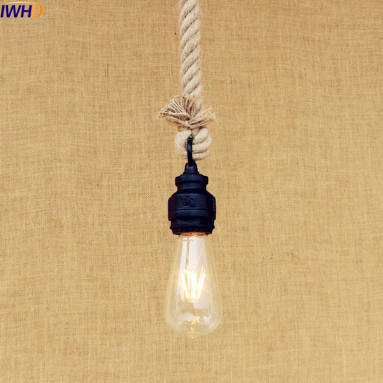 IWHD American Style Loft Industrial Pendant Lighting Fixtures Dinning Room Antique Water Pipe Rope Lamp Vintage Lampara Colgante iwhd glass style loft industrial pendant lighting fixtures dinning room american bombilla edison led vintage lamp light lampara