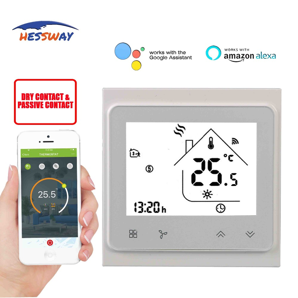 HESSWAY TUYA Smart WIFI chip 5+2 periods programmable WIFI temperature thermostat control degrees for Dry contact
