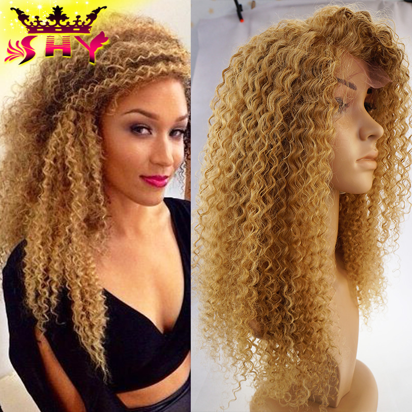 2016 Hot Sale Ombre Glueless Blonde Kinky Curly Full Lace