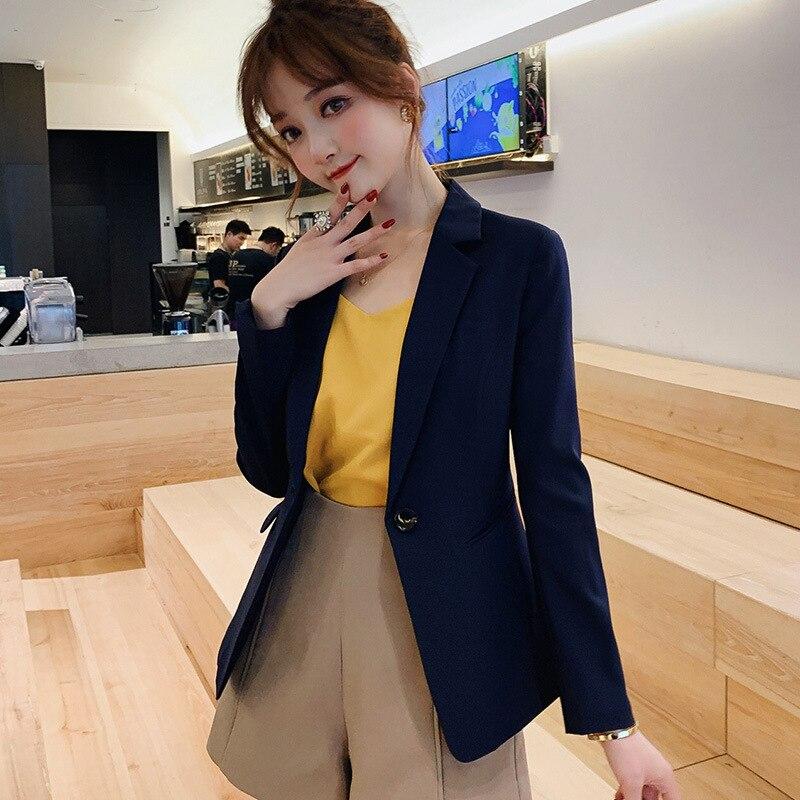 Women's Jacket 2019 New Korean Women's Business Casual Suit Slim Waist Pure Color Small Suit Jacket