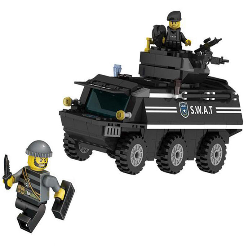 KAZI City New Riot Police Series Model Armored Vehicles SWAT Building Block Sets 249pcs Bricks Educational Toys For Children купить