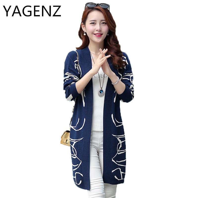 YAGENZ2017 Autumn Knitted Women Coat Plus size M-6XL Medium-long Slim Sweater Coat V-neck Knit Cardigan Thin Outwear Casual Tops alfani new blue black colorblock womens size medium m boat neck sweater $59 092