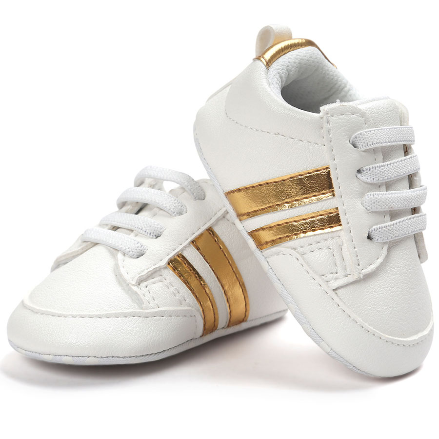 ROMIRUS Baby Boys Sneakers indoor Toddler Shoes First Walkers Soft Bottom For Children Kids Girls - White Base & Gold sneakers
