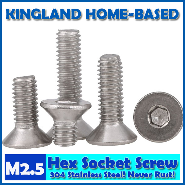 M2.5 DIN7991 Hexagon Hex Socket Countersunk Flat Head Cap Screws 304 Stainless Steel DIY Home Maintain Matel Working m4 din7991 hexagon hex socket countersunk flat head cap screws 304 stainless steel diy home maintain matel working