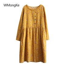 WMongKe Women Tunic Dress Spring Boho Dresses Mori Girl Floral Print Tops  Vintage Lace O- e9bab270ef0d