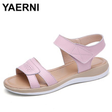 YAERNI Women's Genuine Leather Flat Beach Sandals Shoes Summer Ladies Flip Flops Slippers Casual Girls Gladiator Sandals Shoe(China)