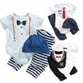 Мальчики девочки детский комбинезон лето мода с коротким рукавом мультфильм полосой pattern младенческая одежда набор romper + брюки + шляпа нагрудник 3 шт. детская одежда