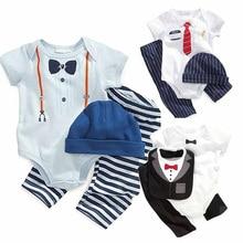 boys girls rompers summer fashion short sleeve cartoon stripe pattern infant clothing set romper+pants+hat bib 3pcs baby clothes