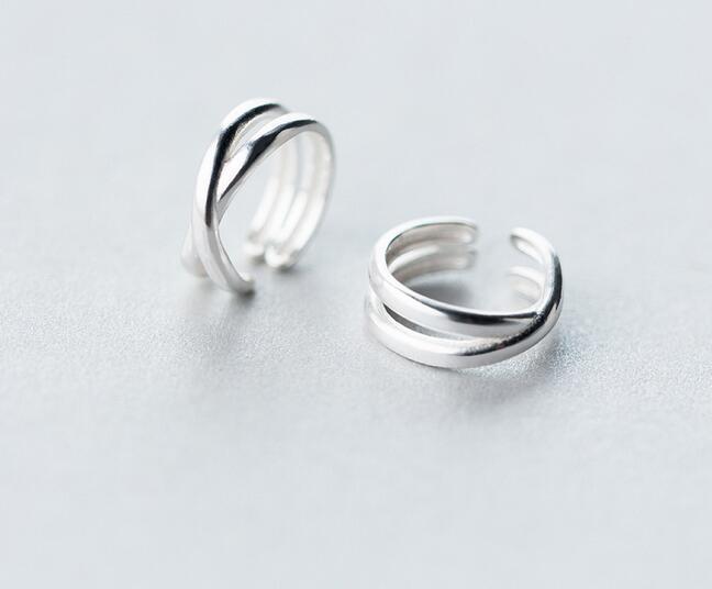 very Small earrings (11MM*4MM) Real. 925 Sterling Silver Jewelry Double Rows Crossed Twisted Clip Earrings (No pierced) GTLE1546