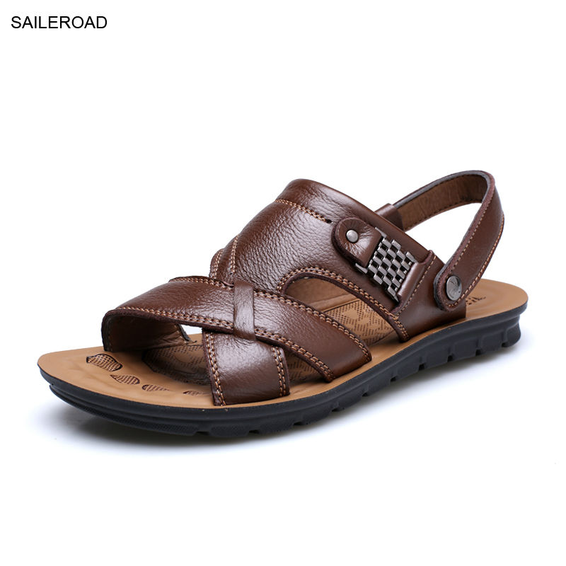 Men Cow Leather Sandals Shoes 2017 New Summer Sandali Uomo