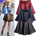 PU Skirt Women High Waist Leather Skirts 2016 Spring Summer Faux Leather Skater Saia Soft PU Mini Skirt For Women Plus Size Lady