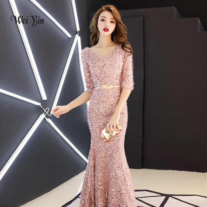 weiyin New Luxury   Evening     Dresses   V Neck Backless Abendkleider Pink Sequined Long Formal Party Gowns Vestidos De Fiesta WY1137