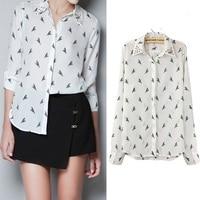 Fashion Print Women S Blouse Chiffon Turn Dowm Collar Ladies Rivet Summer Blouses Shirt Long Brand