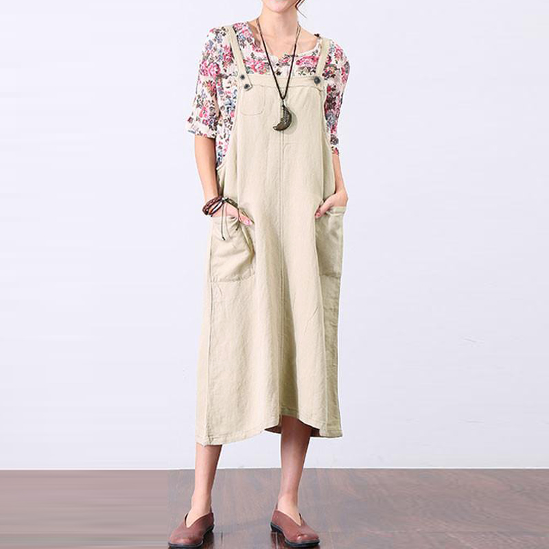 New ZANZEA Women Summer Dungarees Dress Casual Cotton Linen Sleeveless Vestido Pockets Strappy Party Loose Suspenders Oversized