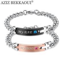 Drop Shipping My Boo & My Bae Stainless Steel Bracelet Matching Couple Bracelets Crystal Stone Bracelets For Women Men Jewelry