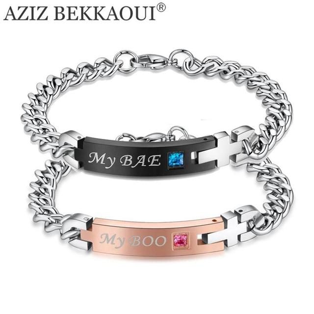 Drop Shipping My Boo Bae Stainless Steel Bracelet Matching Bracelets Crystal Stone