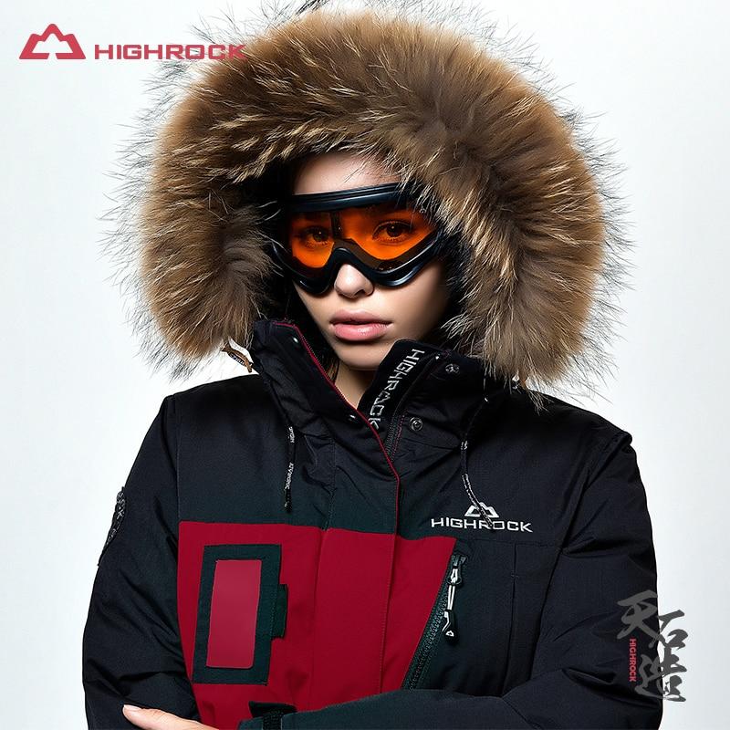 Highrock outdoor winter jacket women coat goose down jacket with fur hood parka female ultralight coat for camping hiking zipper pocket quilted coat with fur trim hood
