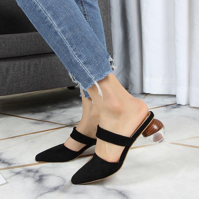 On Punta Mujer Tacones Mulas Extraños Zapatos Slip De Moda VzMUpS