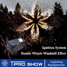 웨딩 콜드 분수 기계 더블 Spining 원격 Pyrotechnics 시스템 무대 슬라이 버 불꽃 조명 효과 장치