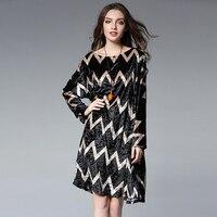Winter Autumn Women Loose Velvet Dresses2017 Long Sleeve Extra Large Striped Dress Female Casual Dress All